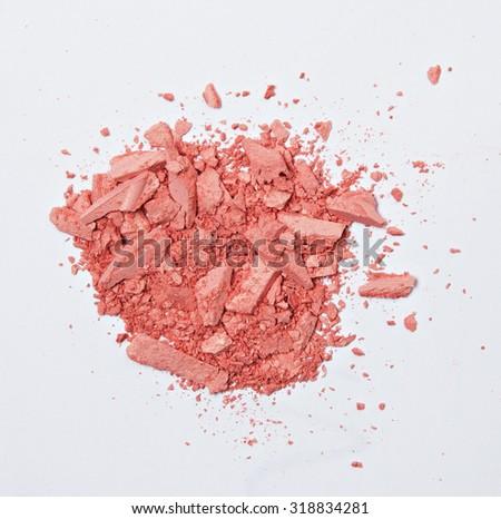 orange eyes shadows cosmetic crushed isolated - stock photo