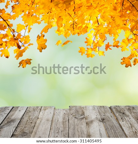 Orange fall leaves over wooden desk and abstract autumn background - stock photo