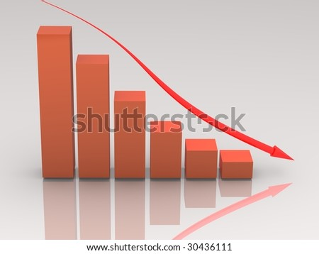 Orange falling bar chart with glowing arrow on white. Very glossy. High resolution 3D render.