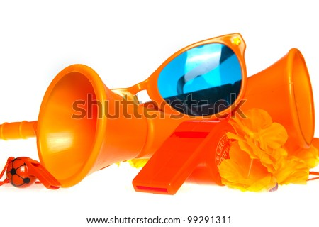 Orange fan stuff for the europian football championship - stock photo