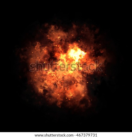 Orange fiery nebula after the explosion in black space.