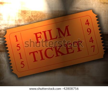 Old Film Texture Orange Film Ticket on an Old