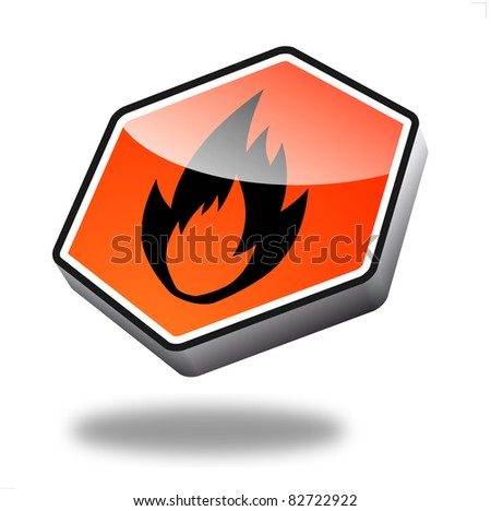 orange fire button with perspective - stock photo