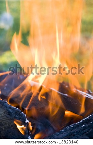 Orange fire flame from charcoal. Close up fire background - stock photo