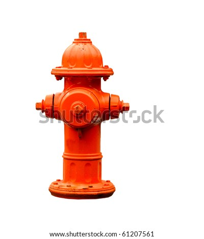 orange fire hydrant isolated with clipping path at this size