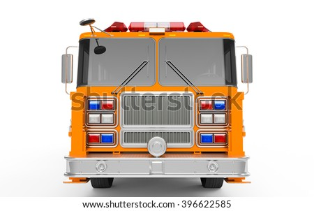 Orange Firetruck front view isolated on a white background. 3D Rendering, 3D Illustration