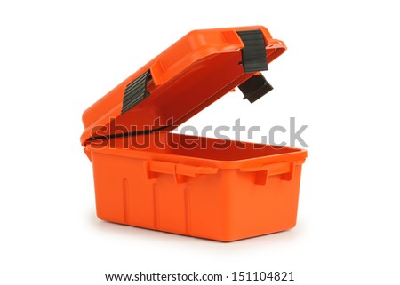 Orange first aid dry box on white background