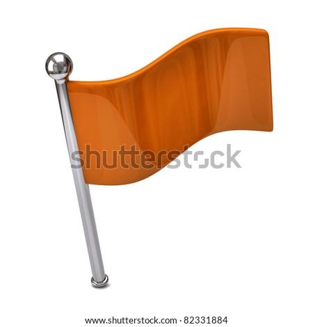 Orange flag isolated on white background - stock photo