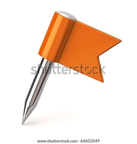 Orange flag pin on a white background - stock photo