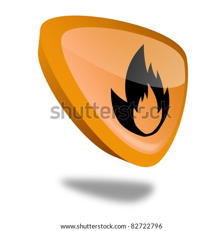 orange flame button with perspective - stock photo