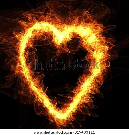Orange Flame Heart