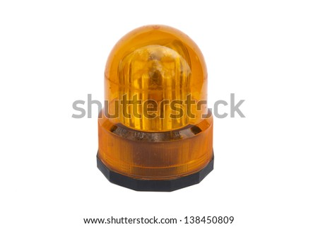Orange flashing light, beacon isolated on white - stock photo