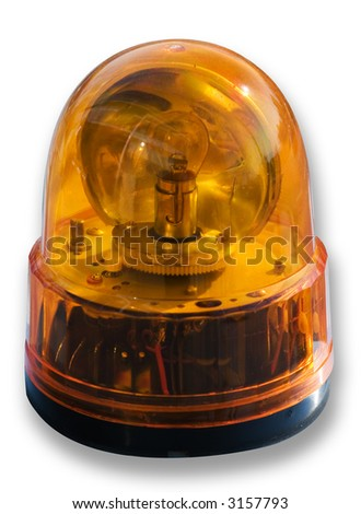 Orange flashing light (clipping path is included) - stock photo