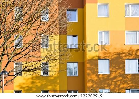 Orange flats. Modern style. Warsaw in Poland. - stock photo