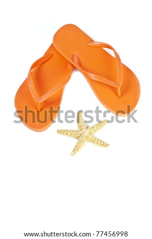 Orange Flip Flop and Star Fish Isolated on White - stock photo