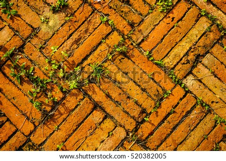 Orange floor make from vintage brick, ancient Thai style, Ayuttthaya, Thailand