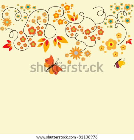 Orange floral greeting card
