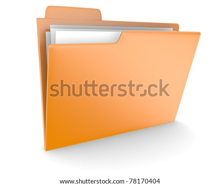 Orange folder over white background
