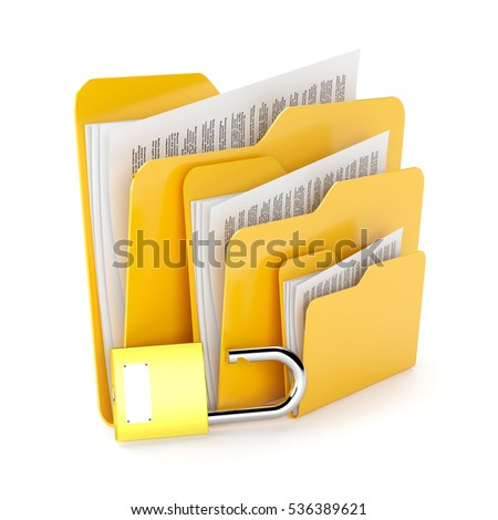 Orange folders with a documents and padlock isolated on white.3d illustration