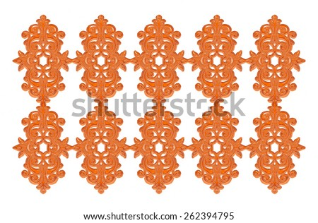 Orange forged gate with decorative lattice isolated on white background - stock photo