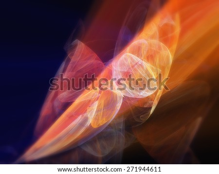 orange fractal curves abstract background - stock photo