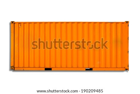 Orange freight shipping container isolated on white with soft shadow - stock photo