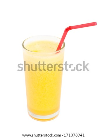 Orange fresh juice in a glass with straw isolated with clipping path