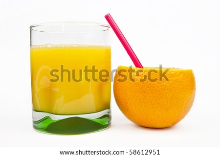 Orange fruit and cocktail isolated on white background - stock photo
