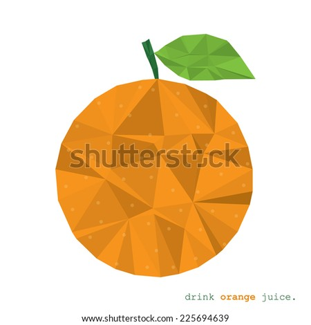 Orange fruit clean and modern minimal design - polygonal element no mesh no gradient  - stock photo