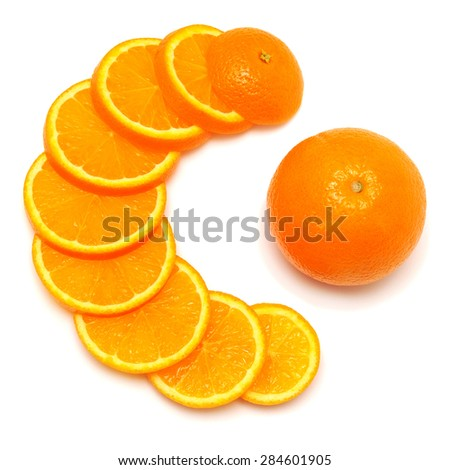 Orange fruit cut into rings in the form of vitamin C isolated on white background - stock photo