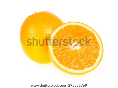 orange fruit half  isolated on write background