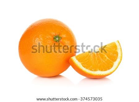 Orange fruit isolated on the white background . - stock photo