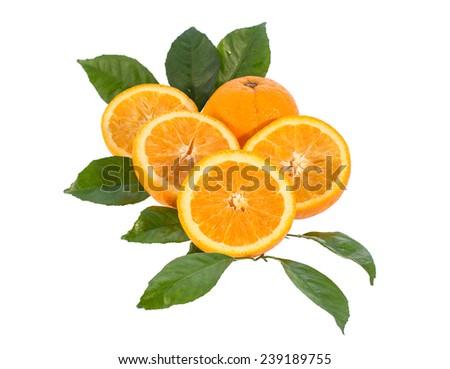 Orange fruit, Isolated on white background - stock photo