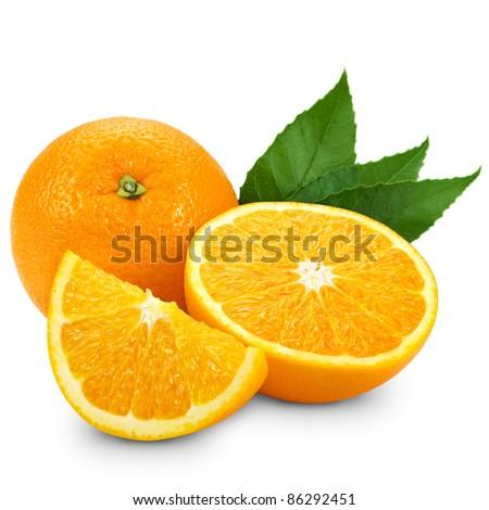 Orange fruit isolated on white background + Clipping Path - stock photo