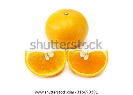 Orange fruit isolated on white background, cutout - stock photo