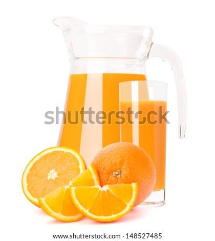 Orange fruit juice in glass jug isolated on white background cutout - stock photo