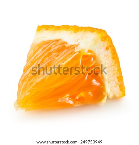 Orange fruit. Little slice isolated. With clipping path.