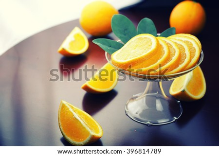 orange fruit on wooden background