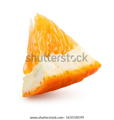 Orange fruit. Orang small slice isolate on white. With clipping path.