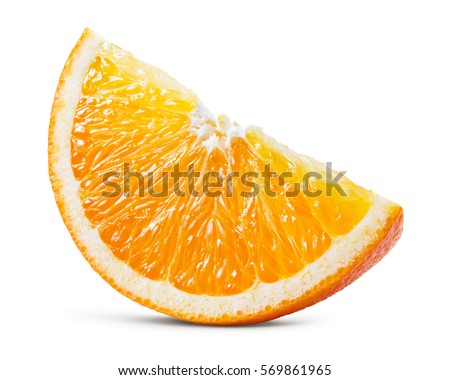 Orange fruit. Piece isolated on white background. With clipping path.