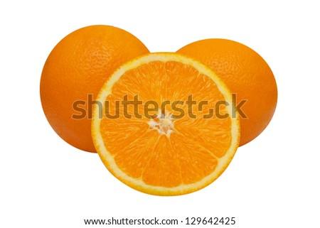 orange fruit segments isolated on white background - stock photo