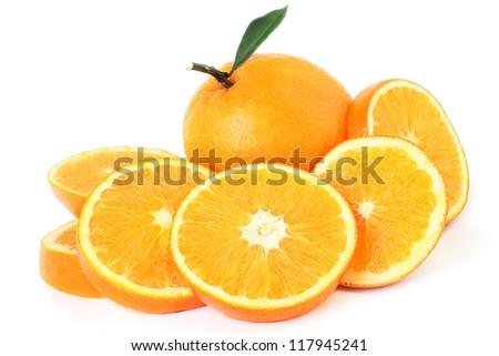 Orange fruit slice isolated on white - stock photo