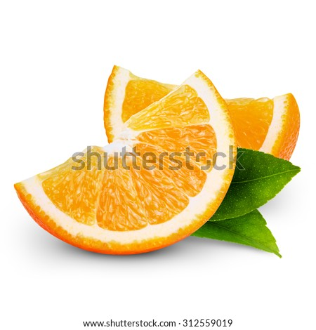 orange fruit slice isolated on white background   - stock photo