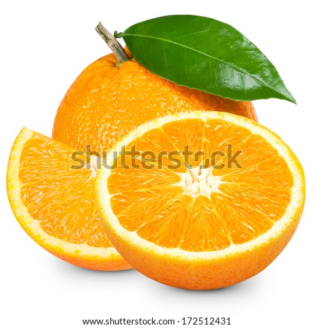 Orange fruit sliced isolated on white background  - stock photo