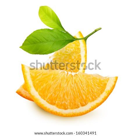 Orange fruit slices isolated on white background. - stock photo