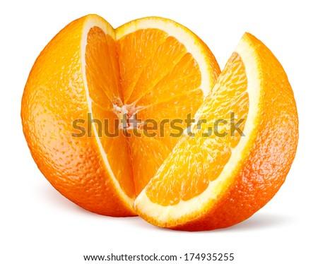 Orange fruit with cut isolated on white - stock photo