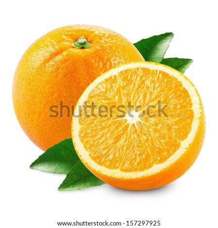 Orange fruit with half and leaves isolated on white background - stock photo