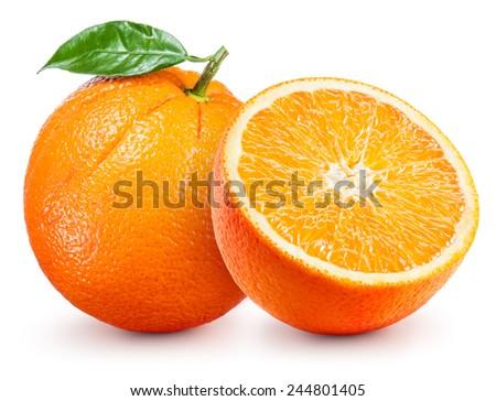 Orange fruit with leaf isolated on white. - stock photo