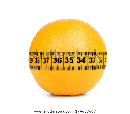 Orange Fruit with measurement isolated on white