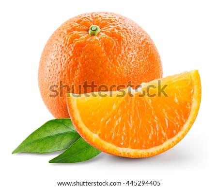 Orange fruit with slice and leaves isolated on white background. - stock photo